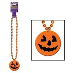 Halloween Beads w Printed Jack O Lantern Medallion 36quot; Long Plastic Party Favor $1.49