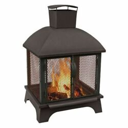 Outdoor Steel Fire Pit Patio Heater Black Fireplace Backyard Wood Burning