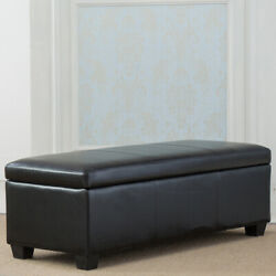 Contemporary Modern Faux Leather Linen bedroom rectangular Storage Ottoman $129.99