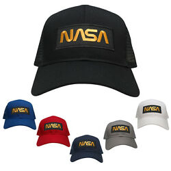 NASA Worm Gold Text Embroidered Iron On Patch Snapback Trucker Mesh Cap $19.99