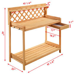 Solid Wood Construction Potting Bench Outdoor Garden Work Bench Station Planting