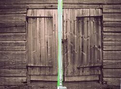 Wood Doors Rustic Old Shack Rusty Lock KITCHEN CURTAIN PANEL Set Barn Shed Decor