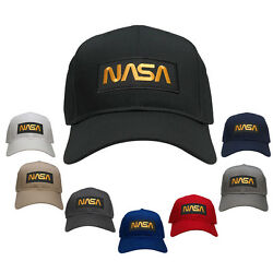 NASA Worm Gold Text Embroidered Iron On Patch Snapback Baseball Cap $19.99