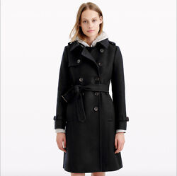 NEW J.CREW ICON TRENCH COAT IN ITALIAN WOOL CASHMERE BLACK SIZE 000 $365