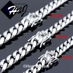 18 40quot;MEN Stainless Steel 7 10 12 14mm Silver Miami Cuban Curb Chain Necklace $25.99