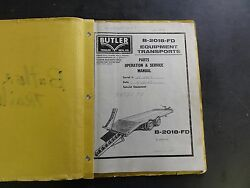 Butler B-2018-FD Parts Operation & Service Manual