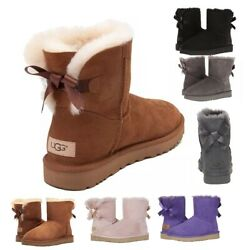 Authentic UGG Women#x27;s Shoes Mini Bailey Bow Boot Chestnut Black Grey Pink New $127.50