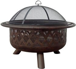 Lattice Fire Pit Bronze Finish 36 in. Outdoor Yard Cooking Heavy Mesh Portable