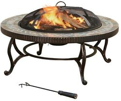 Round Slate Fire Pit 34 in. Outdoor Patio Yard Heating Grilling Portable Cooking