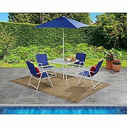 Patio Dining Set Table and Chair Set With Umbrella Garden Outdoor Furniture Deck