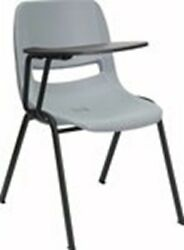 Gray Ergonomic Shell Chair with Right Handed Tablet Arm