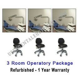 A-dec Adec 1021 Dentist Dental 3 Room Operatory Package w Stools