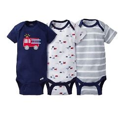 Gerber Baby Boys 3 Piece Rescue Firetruck Onesies Set; BABY CLOTHES SHOWER GIFT $9.99