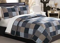 Bedding Set 3pc King Navy Country Cabin Patchwork Reversible Quilt Bedspread