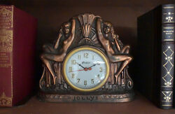 Rare Antique Art Deco Gibraltar Windsor Copper Tavern Clock with Two Nudes