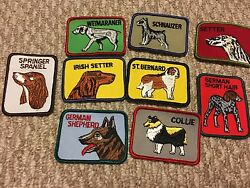 Vintage square dog breed patches sew on you pick breed $9.99