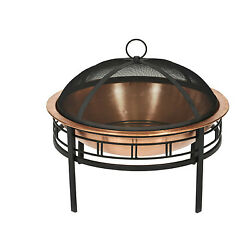 Copper Fire Pit Outdoor Patio Fireplace Deck Wood Burning Heater Backyard