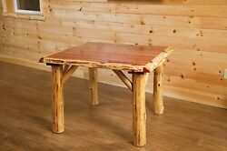 Rustic Red Cedar Log Family Dining Table- Amish Made in the USA -Multiple Sizes