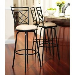 Adjustable Bar Stool Height Chairs Patio Swivel Kitchen Counter Set 3 Metal