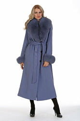 Womens Full Length Cashmere Wrap Coat Real Fox Fur Collar - Lavender Blue