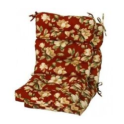 Floral Outdoor Cushion Chair Set of 2 Patio Replacement Deck Yard Pool Plush Red