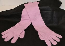 NEW $395 Hard To Find CAROLINA AMATO 100% Pink Cashmere Long Opera Gloves OS