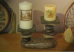 Rustic CabinLodgePrimitive Stone Candle Holder Southwestern Country Log Cabin