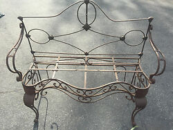 Vintage French Wrought Iron Bench