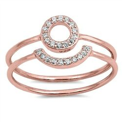 .925 Sterling Silver Rose Gold Plated Open Halo Circle Clear CZ Promise Ring Set