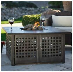 Patio Fire Pit Table Outdoor Gas Fireplace LP Propane Heater Furniture  w Cover