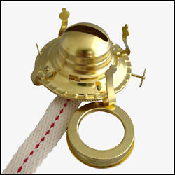 #2 BRASS PLATED OIL LAMP BURNER WICK amp; SCREW ON COLLAR fits OLD #2 OIL LAMPS $5.90