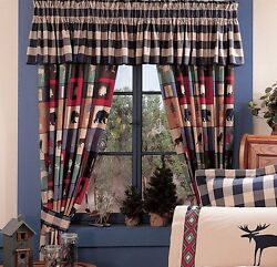 Pair The Woods Bear Wolf Cabin Curtains Drapes 84