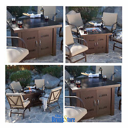 Propane Fire Pit Outdoor Patio Antique Bronze Heater Backyard Portable Fireplace