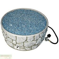 RIVER ROCK GAS FIRE PIT OUTDOOR Set Patio Balcony Arctic Flame Glass Propane New