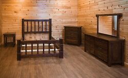 Barn Wood Style Timber Peg Mission Bed Set in Queen or King- Amish Made USA