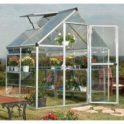 4x6 Greenhouse Aluminum Frame All Weather Walk-In Nursery Polycarbonate Panels