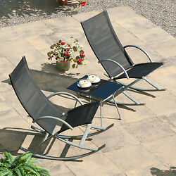 Black 3 Piece Sling Rocking Chair Bistro Patio Seating Set Outdoor Home Garden