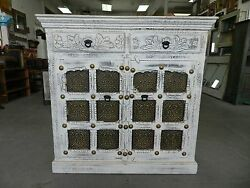 Handcraved White and Gold Cabinet