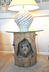 Hand Carved Bear Cub Log Lamp Table With Glass Top for your Home