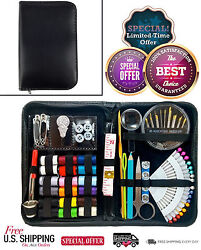 Professional Sewing Kit Supplies Set With Leather Travel Case Scissors Threader