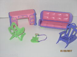 CPK Cabbage Patch Kids Lil Sprouts Doll Furniture Lot Chairs Desk Sofa Guitar