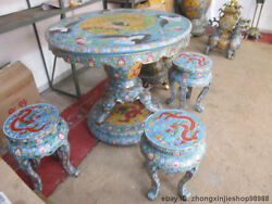 chinese Royal 100% Bronze Cloisonne dragons Crane Table 4 Stools Set