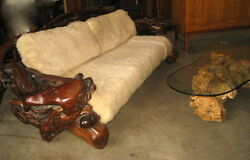 Redwood Live Edge Mid Century Couch Chair Tables Rustic Log Cabin 4 pc Set