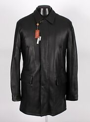 $4495 NWT - LORO PIANA DEER LEATHER  CASHMERE Coat - Black - L Large