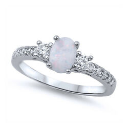 Women 6mm 925 Sterling Silver Oval Simulated White Opal with CZ Ladies Ring Band