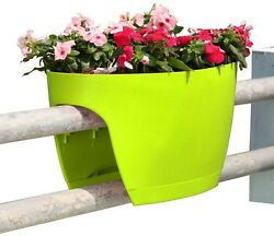 Railing & Deck Planter Plastic Flower Pot Apple Green 2-Pack Outdoor Home Garden