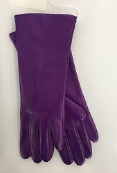Portolano Cashmere Lined Violet Leather Gloves Size 7 (long 4-button Length) NWT
