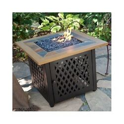 Fire Pit Table Outdoor Gas Fireplace LP Propane Patio Heater Backyard Furniture
