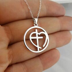 Cross in Open Heart Necklace 925 Sterling Silver Round Pendant Faith Gift NEW $25.00