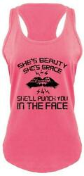 Shes Beauty Grace Punch Face Funny Ladies Tank Top Fighter Workout RB Tank Z6